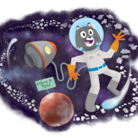 """illustrated cartoon gray cat, Dr. Universe, wearing an astronaut suit in space with Pluto in the background with a sign, """"Welcome to Pluto"""""""