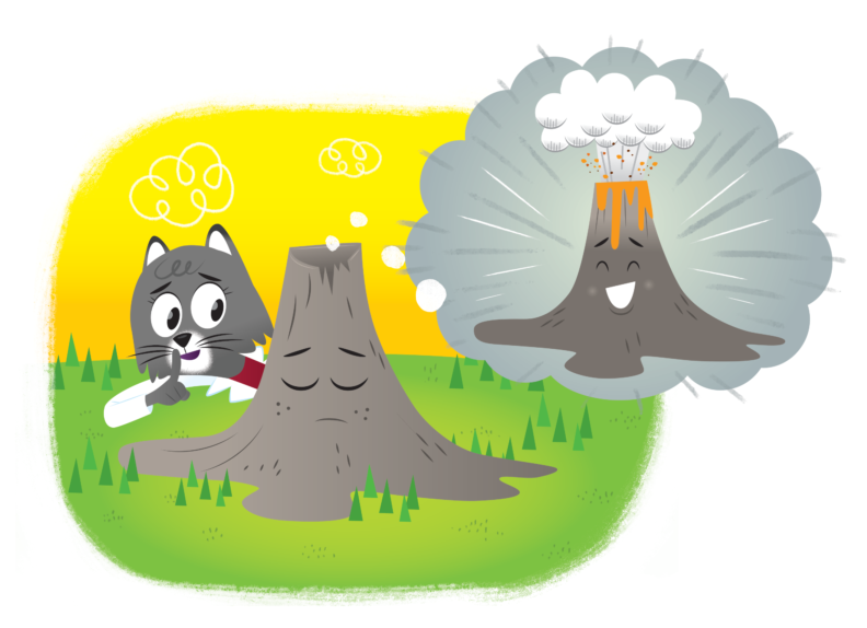 Dr. Universe, a cartoon gray cat with a lab coat and red shirt, observes a cartoon volcano sleeping while thinking about a cartoon volcano erupting.
