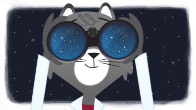 Dr. Universe, a grey cat with a lab coat, looking through binoculars