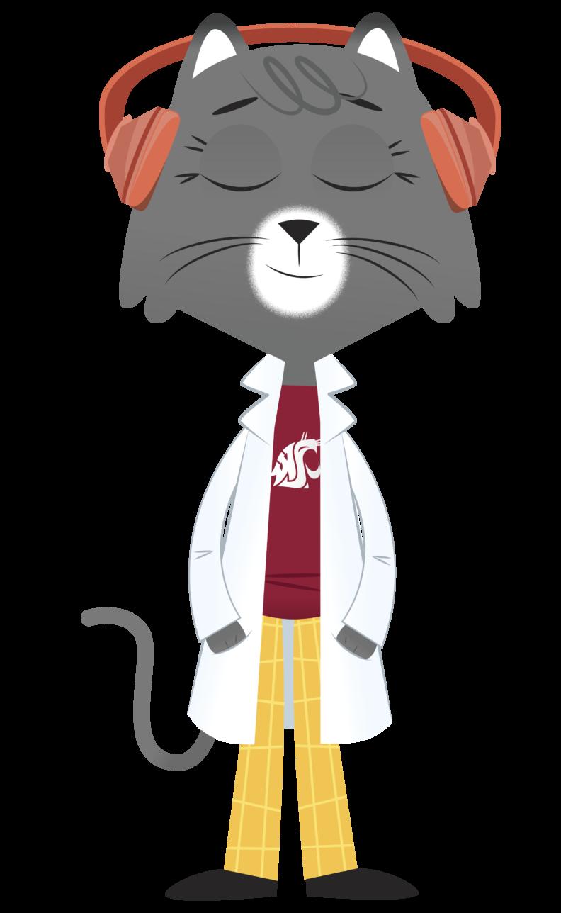Dr. Universe cat cartoon wearing headphones