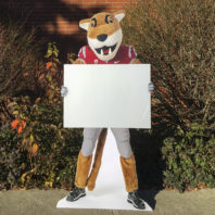 Butch cutout holding blank sign