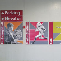 Directional decals hanging in Terrell parking garage