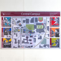 Map of campus hanging in Terrell lobby