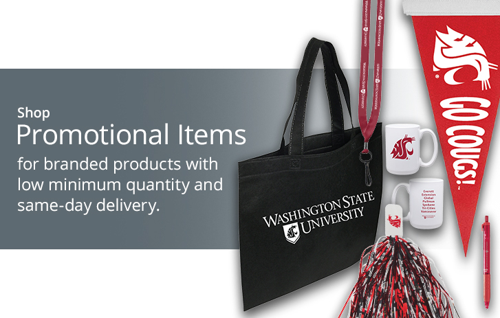 shop promotional items for branded products with low minimum quantity and same-day delivery.