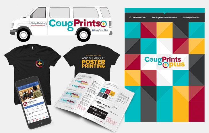 opens photo gallery. design and print for CougPrints Plus rebrand.