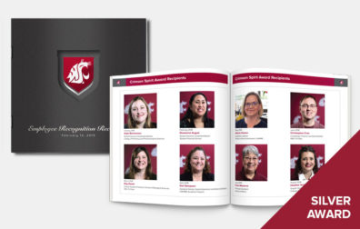 opens photo gallery. cover and inside of employee recognition program.