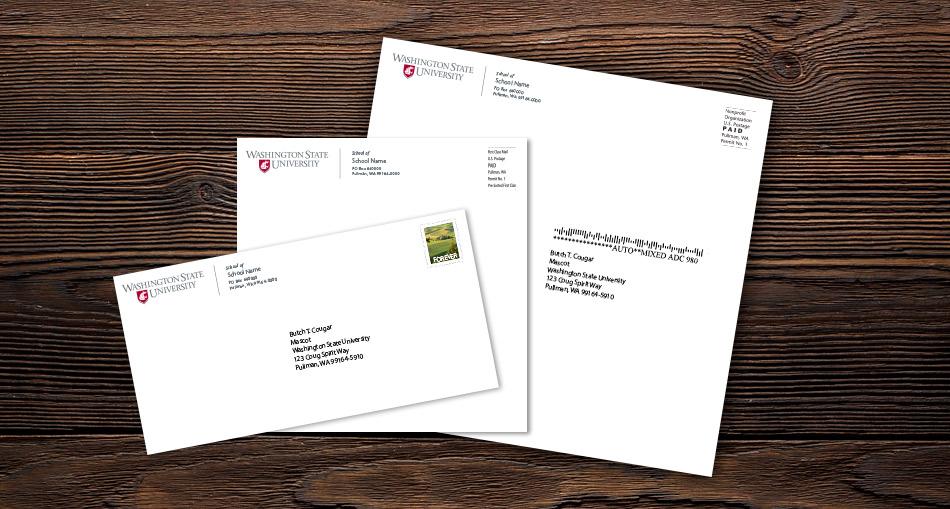three addressed envelopes.