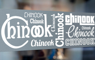 opens photo gallery. chinook vinyl cut letters on window.