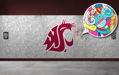 coloring wall with large crimson Coug head