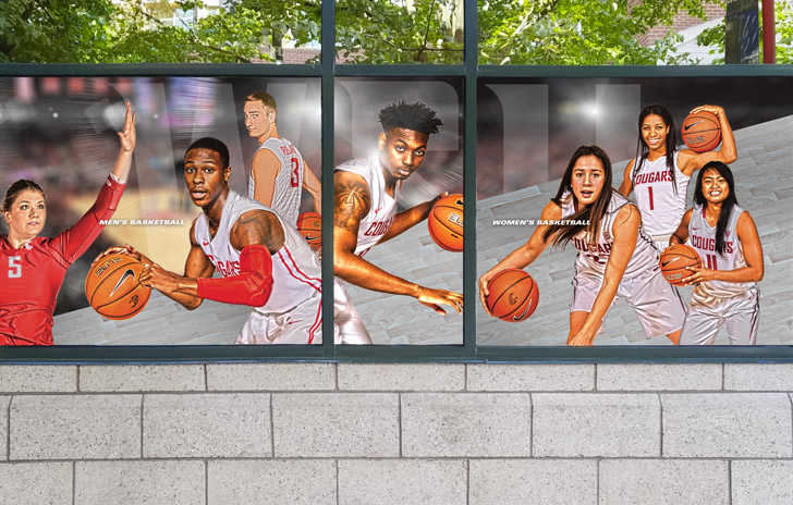 Window graphics with images of basketball players