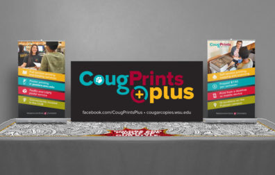 opens photo gallery. cougprints plus page table top cover.