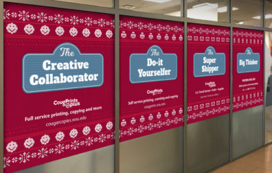 opens photo gallery. four large window graphics with a holiday sweater motif.