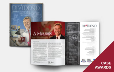 opens photo gallery. cover and inside of Dividend.