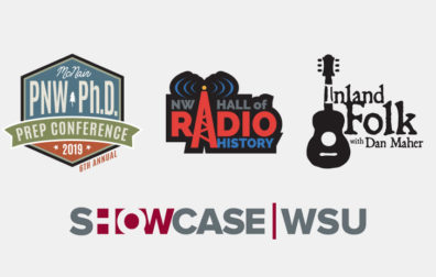 opens photo gallery. graphics for showcase, NW radio hall of history, inland folk, and PNW PHD conference.