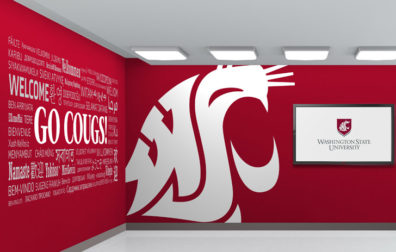 Screaming Coug head plus Go Cougs! and Welcome in different languages