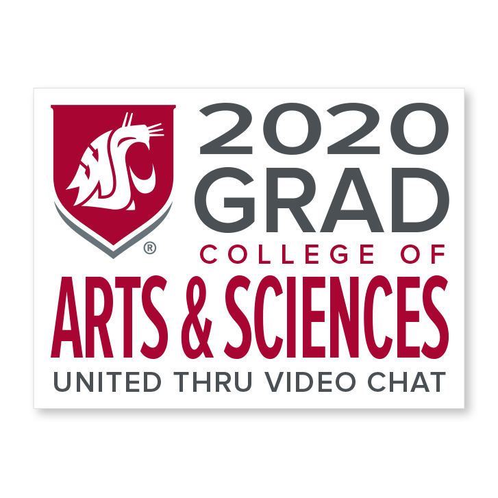 white decal for college of arts and sciences 2020 graduate