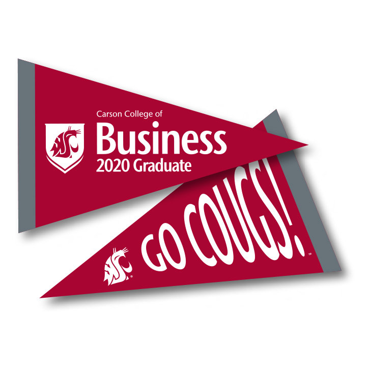 crimson pennant with carson college of business 2020 graduate in white text