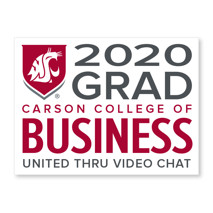 white decal for carson college of business 2020 graduate
