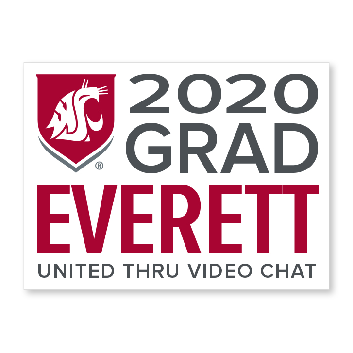 white decal for everett 2020 graduate