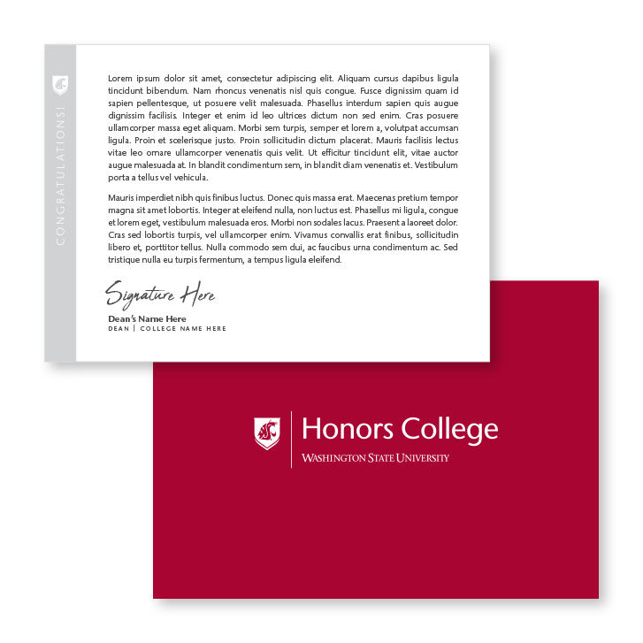 notecard for honors college 2020 graduate