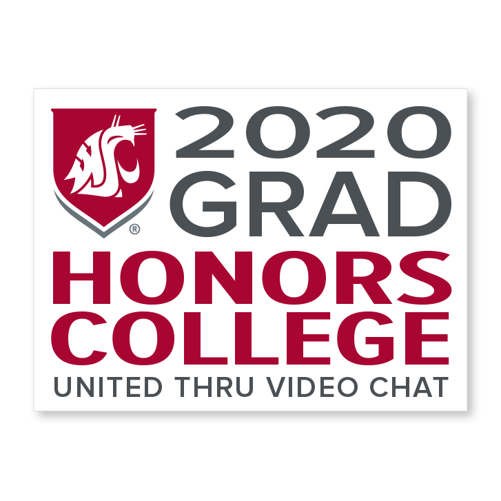 white decal for honors college 2020 graduate