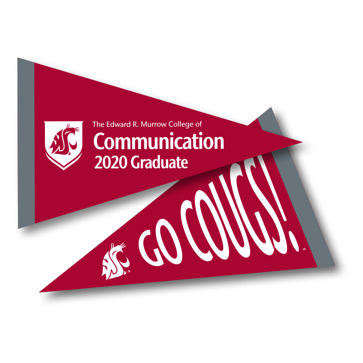 crimson pennant with edward r murrow college of communication 2020 graduate in white text
