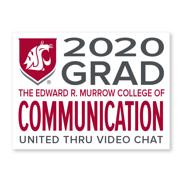 white decal for edward r murrow college of communication 2020 graduate
