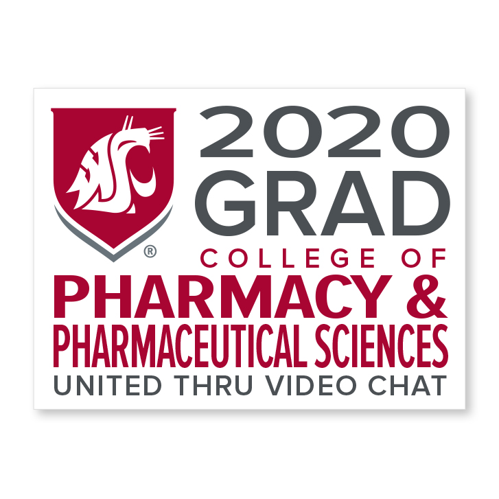 white decal for college of pharmacy and pharmaceutical sciences 2020 graduate