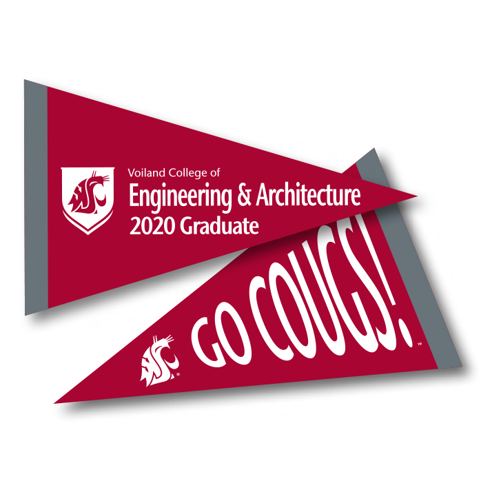 crimson pennant with voiland college of engineering and architecture 2020 graduate in white text