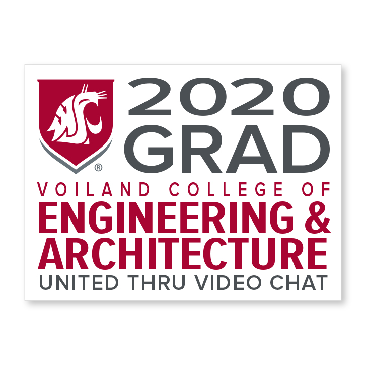white decal for voiland college of engineering and architecture 2020 graduate