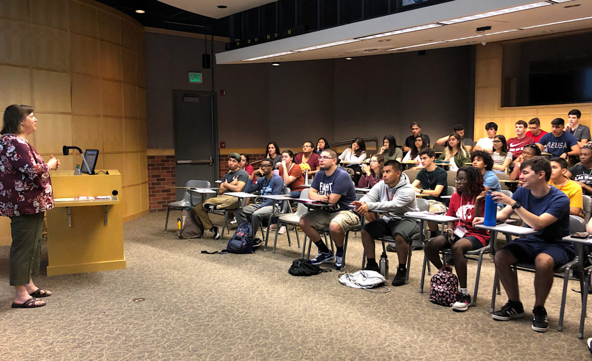 New WSU LSAMP students listen to Academic Success and Career Center director Terese King give a presentation during the Summer Bridge program,