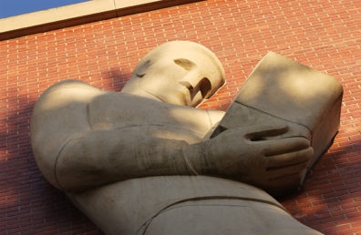 """Low angle shot of """"Nature Boy"""" sculpture."""