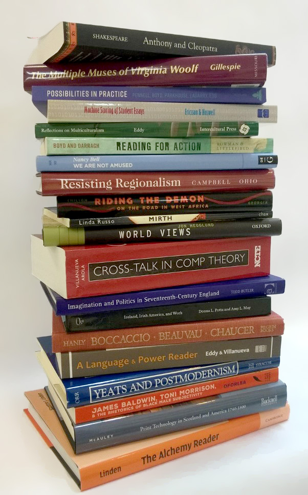 Stack of English faculty authored or edited books.