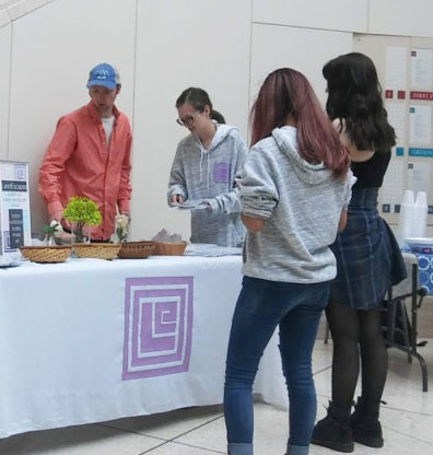 Students line up for ice cream and copies of LandEscapes at the 2019 issue launch party.