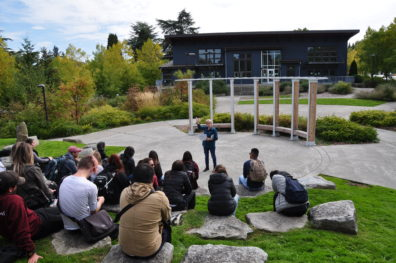 Landscape architecture students and faculty meet with alumna and advisory board member Peg Staeheli on the second year study tour in Seattle.