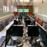 The BIM Lab is utilized by students to create and navigate 3D, 4D, and 5D project modeling as exploration in the process of preconstruction, site logistics, scheduling, estimating, and many more.