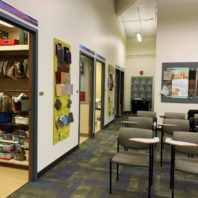 The Materials Resource Library & lecture space located in the 3rd floor of Daggy Hall.