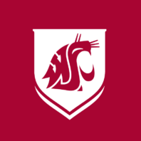 The WSU Cougar logo in crimson enclosed within a white crest set against a crimson backdrop.