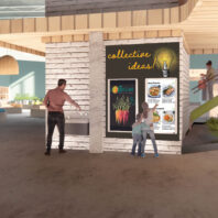 Image depicting shoppers and community members in Emily Ryan's award-winning proposal for a grocery and health clinic.