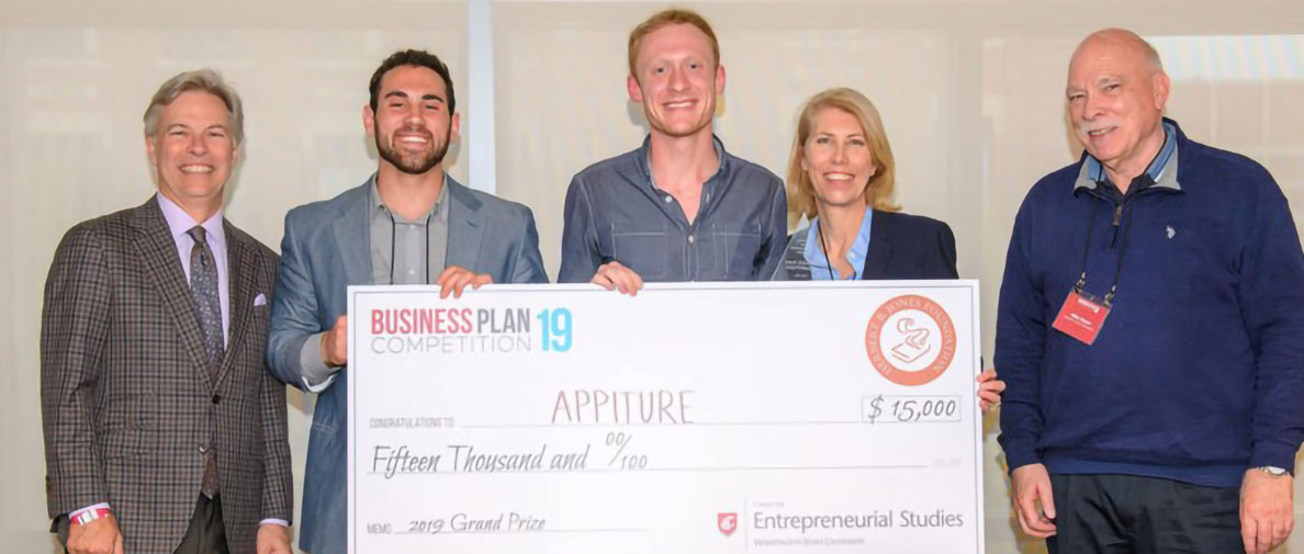 Team Appiture posing with an over-sized check for $15,000.