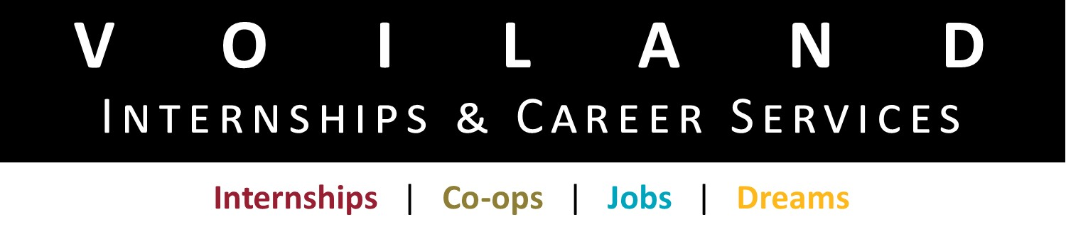 Logo with the text Voiland Internships and Career Services: Internships, Co-ops, Jobs, Dreams.