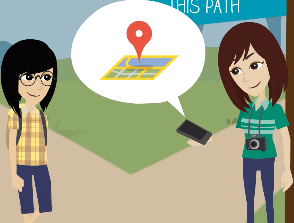 Illustration of student helping another student with map directions.