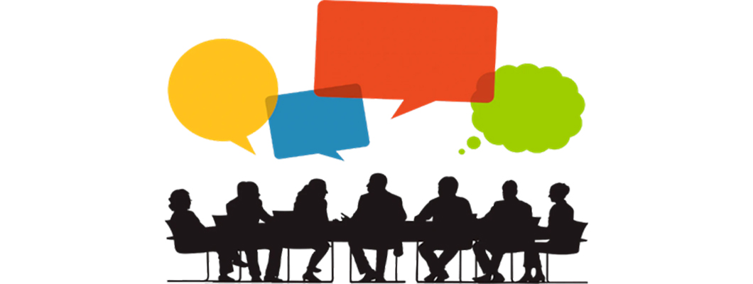 Graphic: Sillhouettes of business people seated around large conference table, with colored thought balloons overhead.