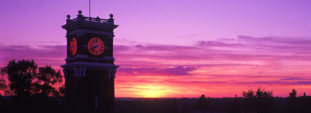 Bryan Hall clock tower sunset.