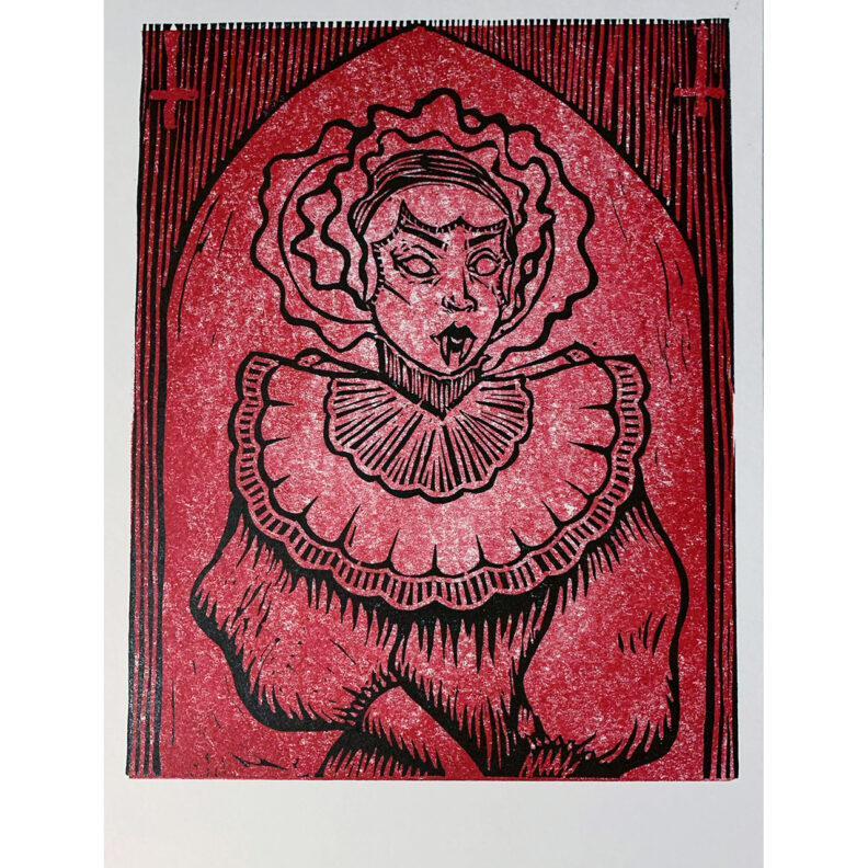 Red and black vampire print