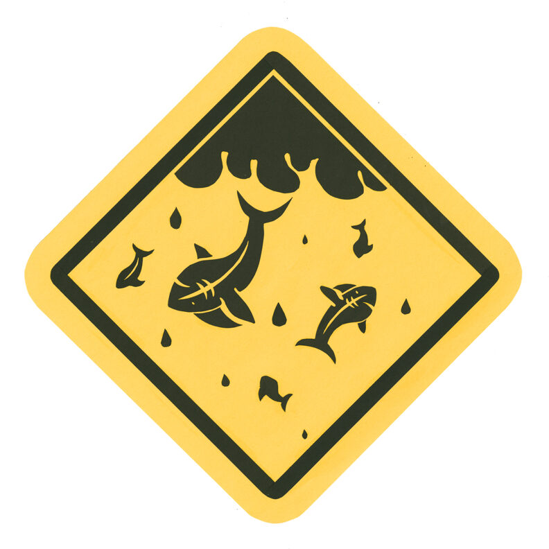 Caution sign of sharks falling from sky