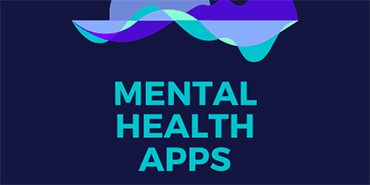 Graphic: Background - blue and purple abstract graphic; foreground text - Mental Health Apps.