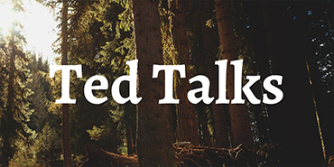 Graphic: Background - pine forest; foreground text - Ted Talks.