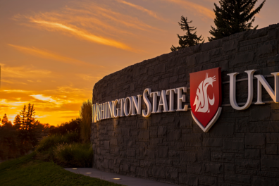 Washington State University Pullman Sign at Sunset