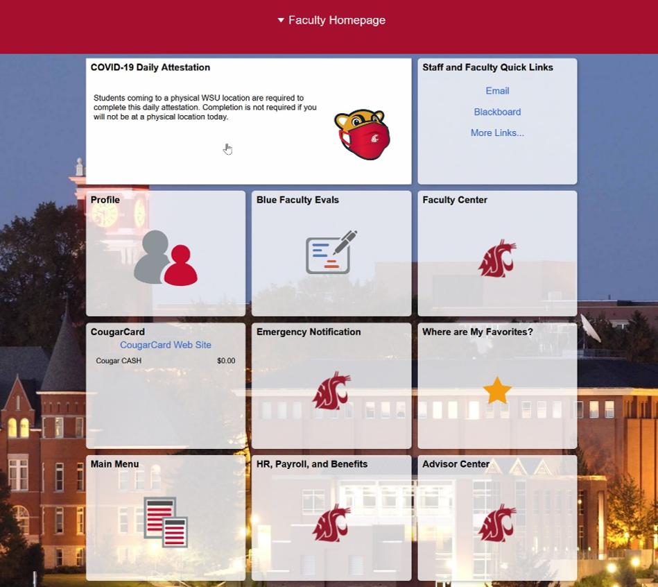 myWSU Homepage with Cursor